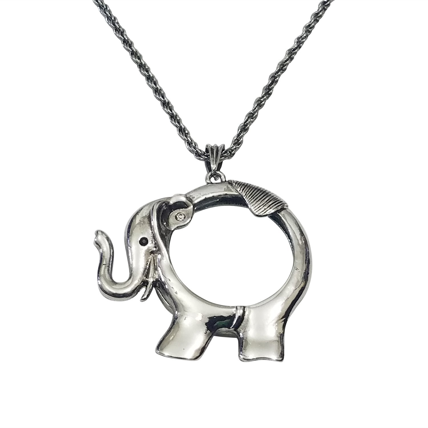Silver Toned Elephant Magnifying Glass Pendant Necklace