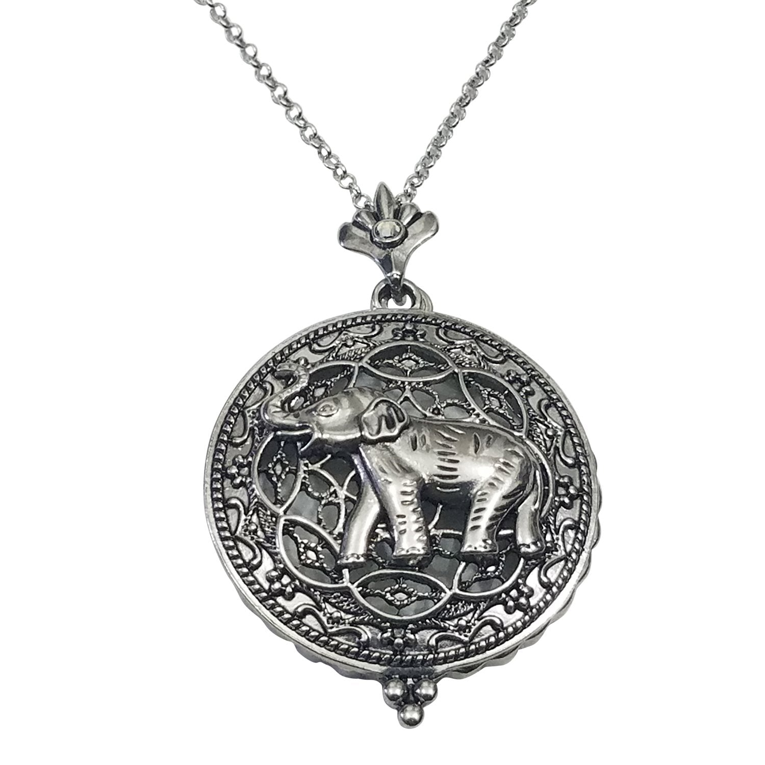 Silver Toned Elephant Magnifying Glass Pendant with Long Necklace