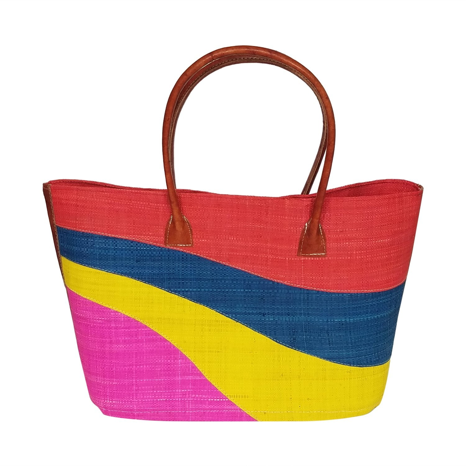 Karen: Authentic Madagascar Multicolored Hand Made Raffia Wave Hand Bag
