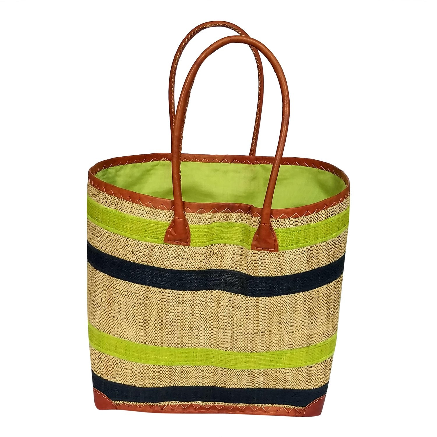 Pamella: Authentic Handmade Lime & Black Madagascar Raffia Betsi Bag