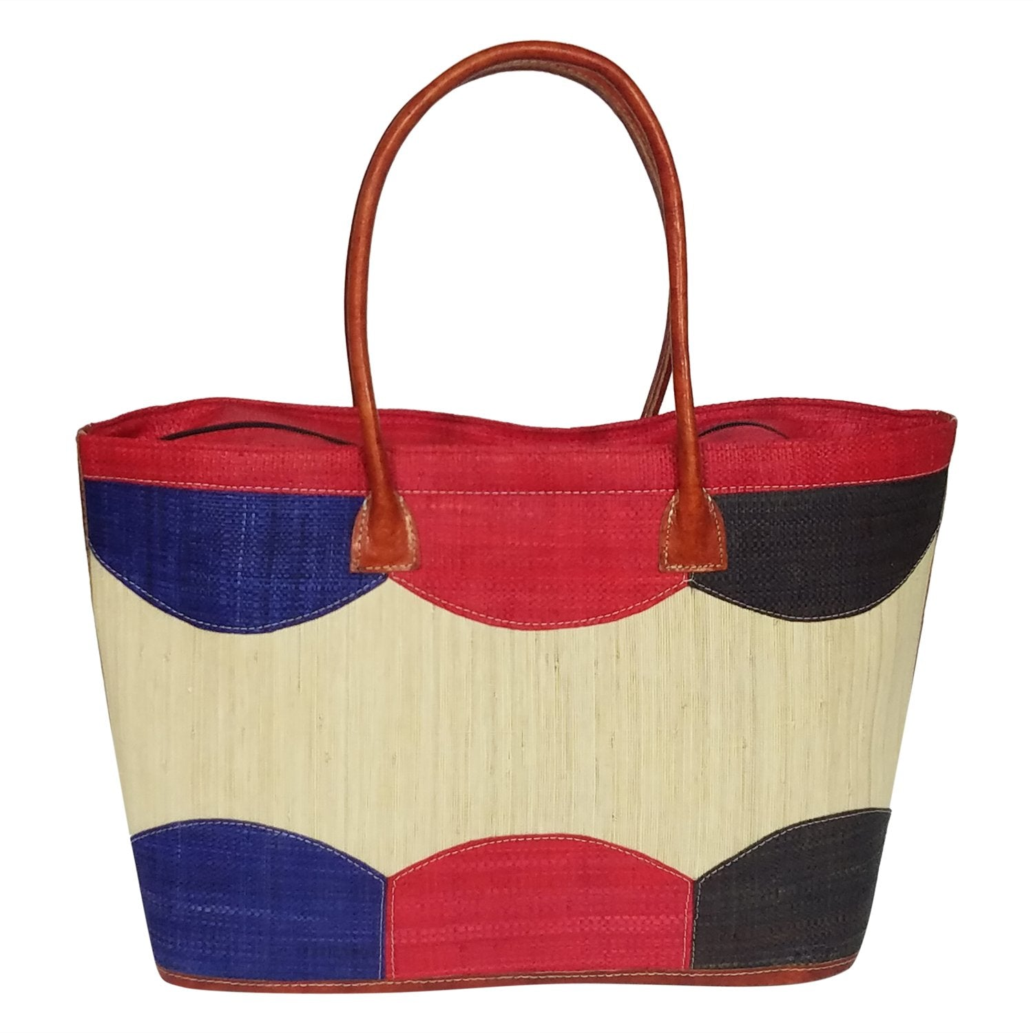 Jenny: Authentic Handmade Multicolored Madagascar Raffia Bubbles Hand Bag