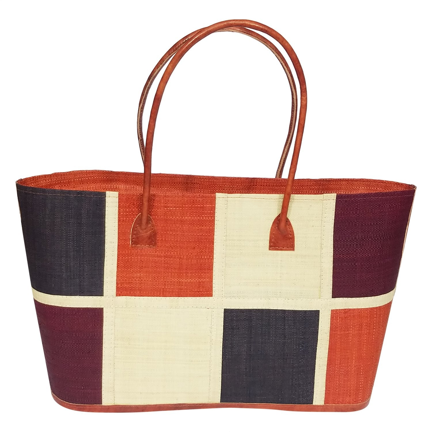 Christiany: Authentic Hand Woven Multicolor Madagascar Raffia Boxes Hand Bag