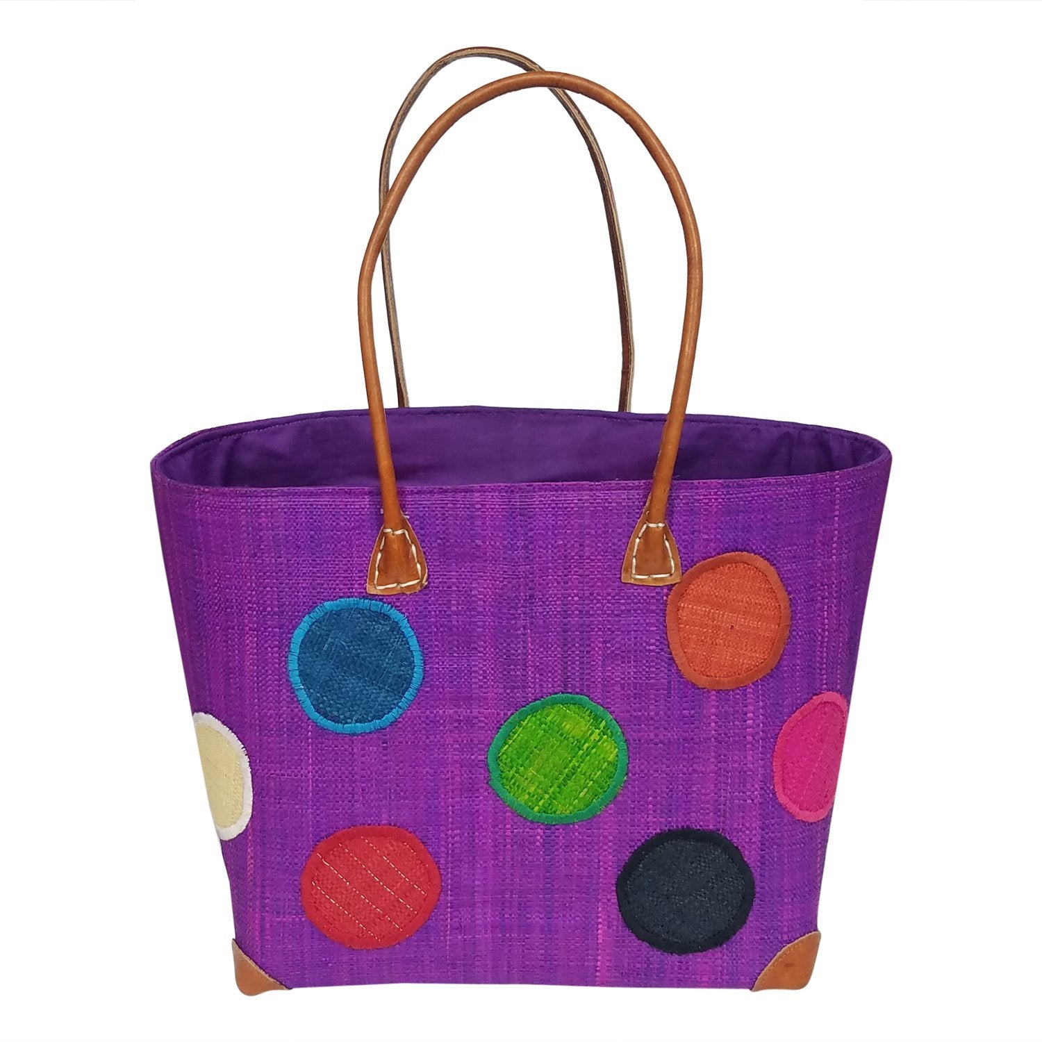 Alice: Authentic Hand Woven Madagascar Purple Polka Dot Raffia Tote Bag