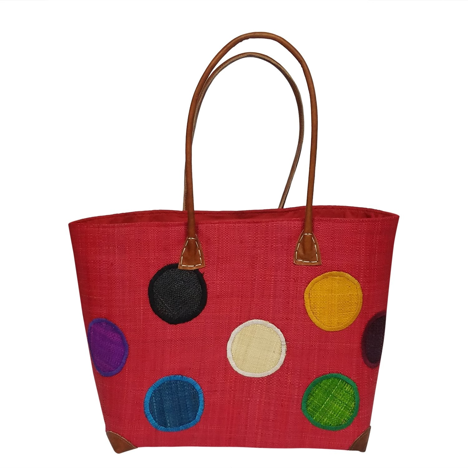 Avotra: Authentic Hand Woven Madagascar Red Polka Dot Raffia Tote Bag