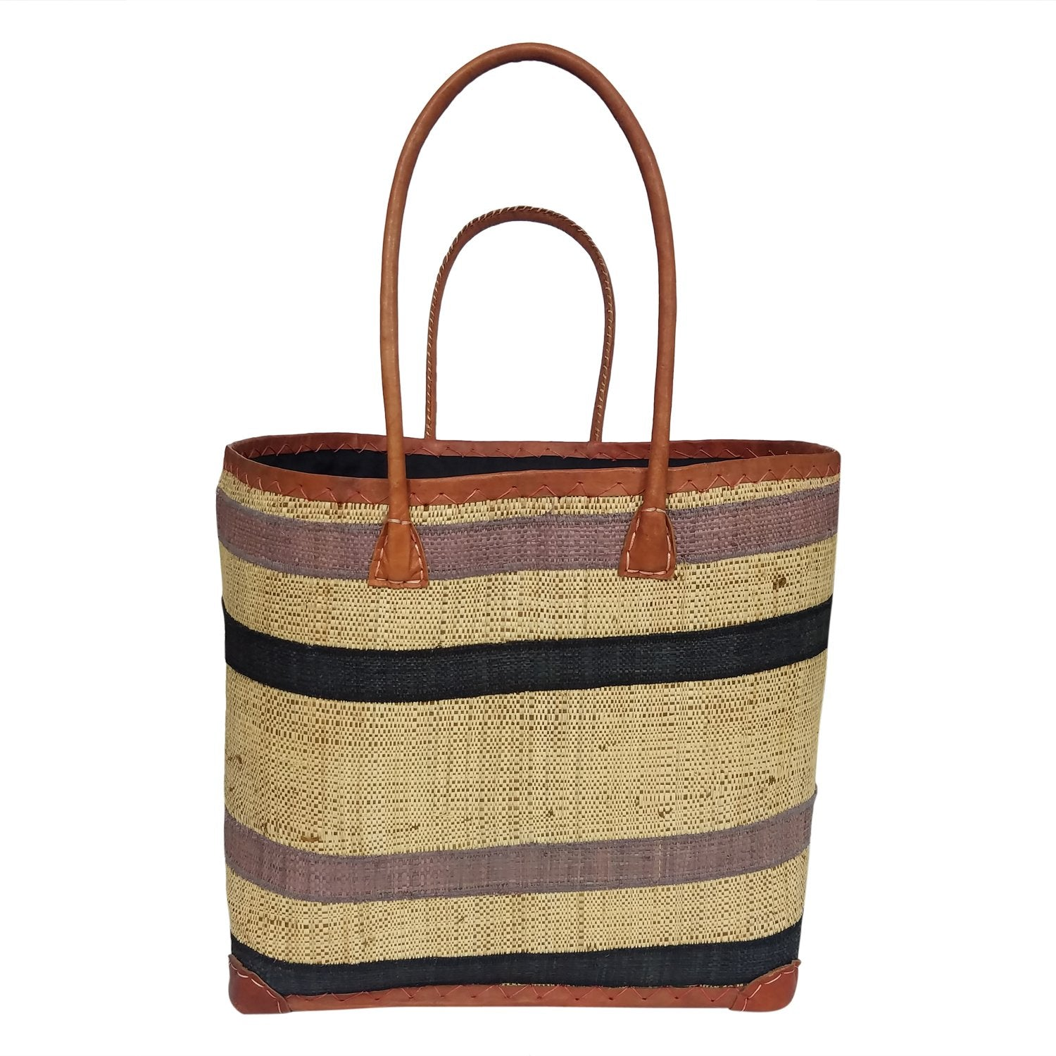 Sarah: Authentic Hand Woven Black & Gray Madagascar Raffia Betsi Tote Bag