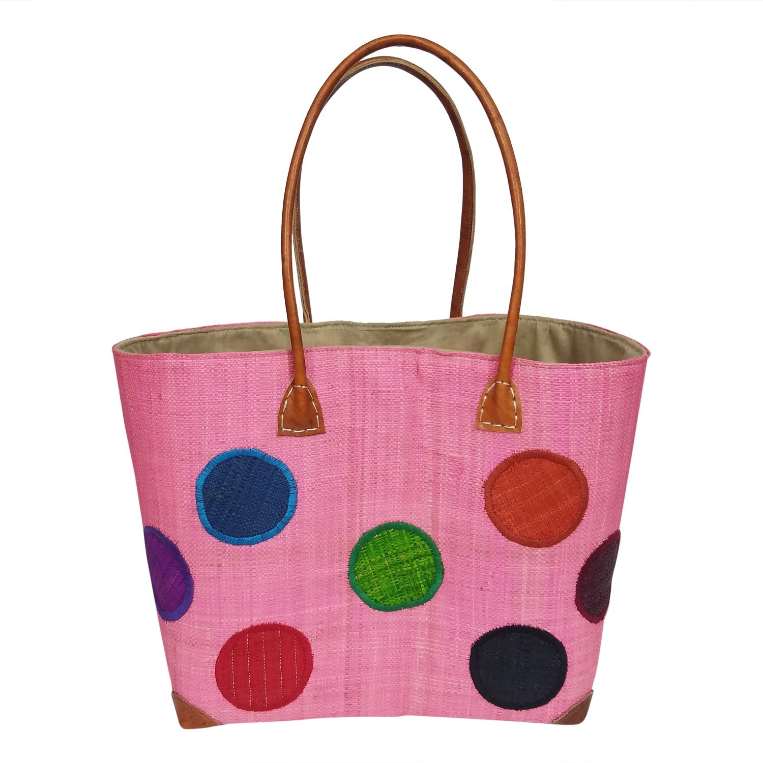 Irina: Authentic Hand Woven Pink Madagascar Raffia Polka Dot Tote Bag