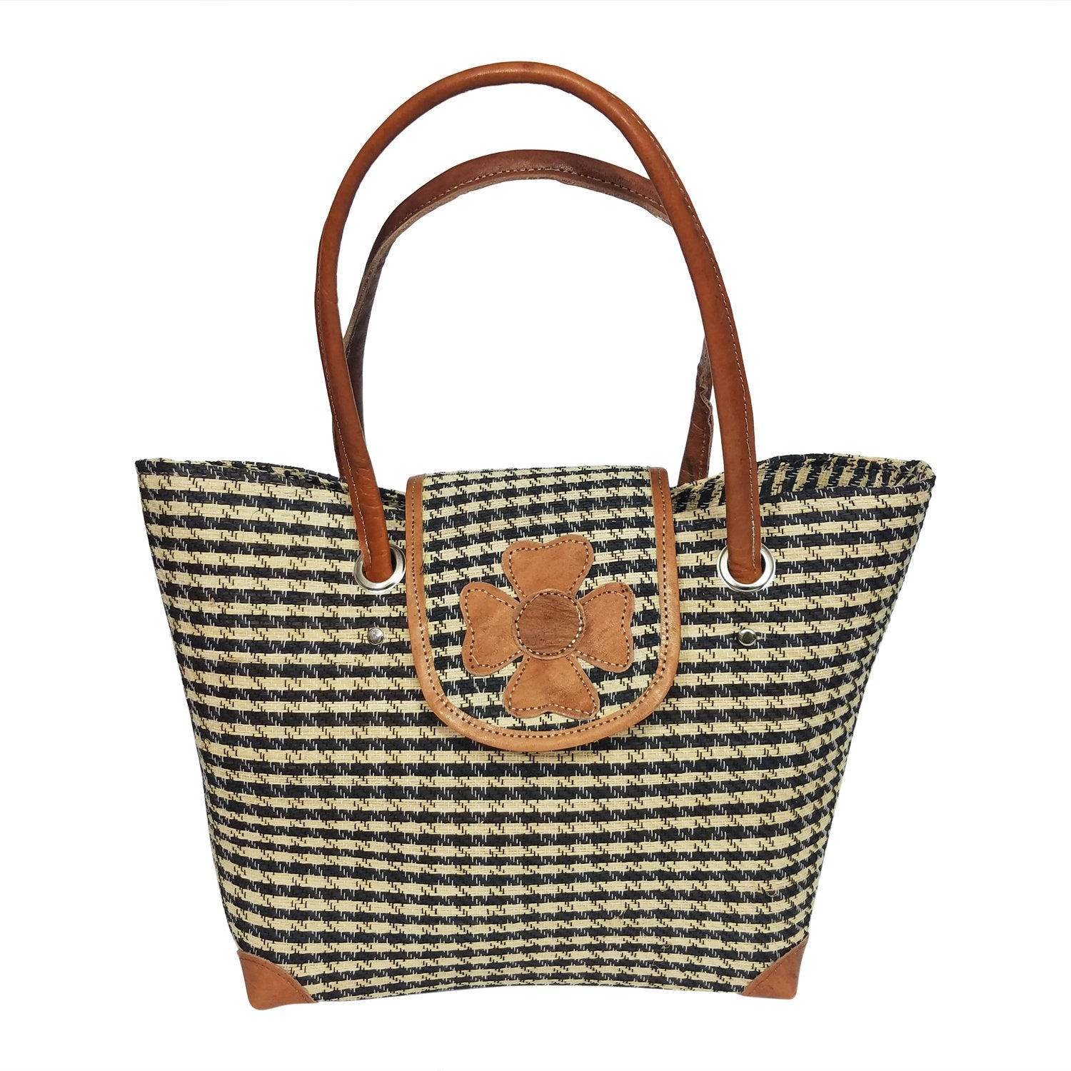 Johna: Authentic Hand Woven Checkered (Black and Natural) Madagascar Raffia Hand Bag