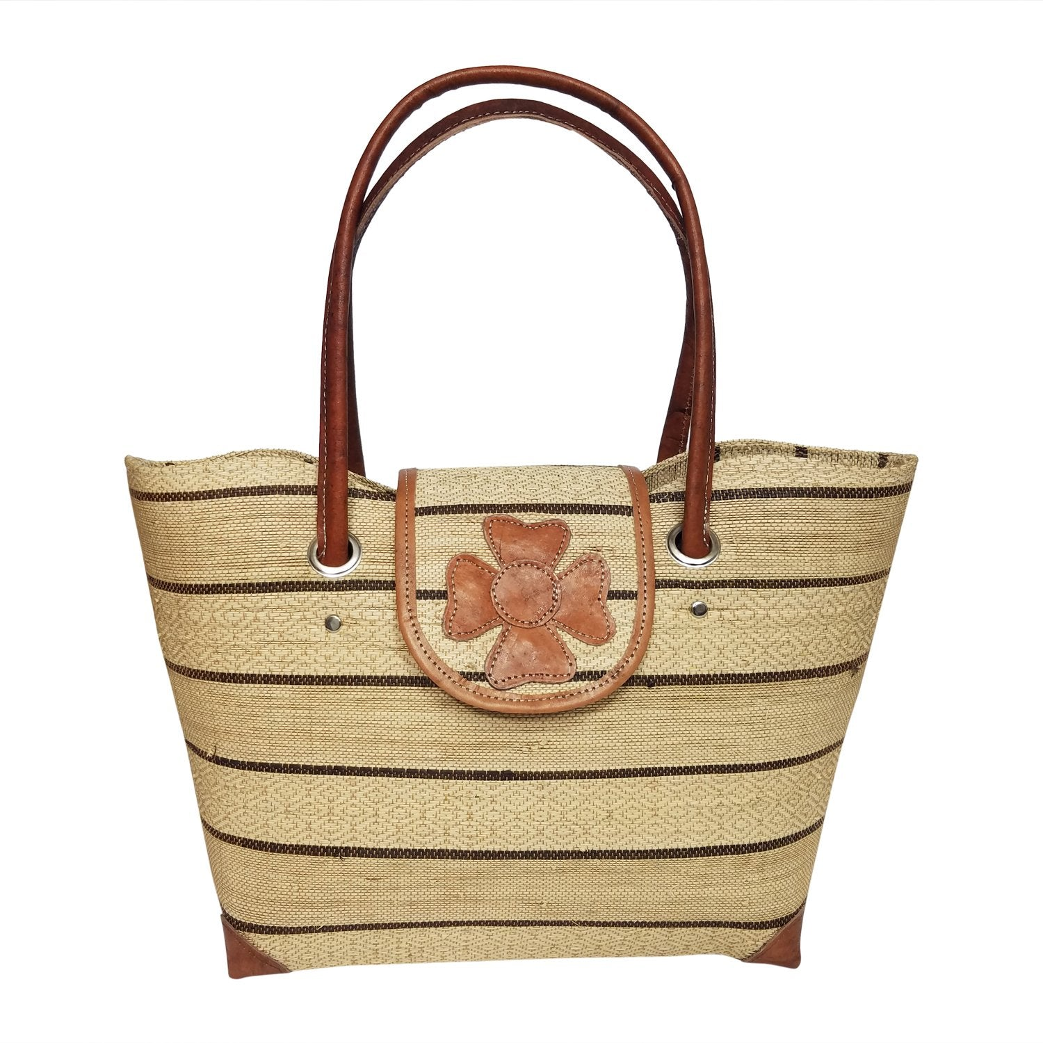 Rina: Authentic Hand Woven Beige & Brown Madagascar Raffia Voninkazo Hand Bag