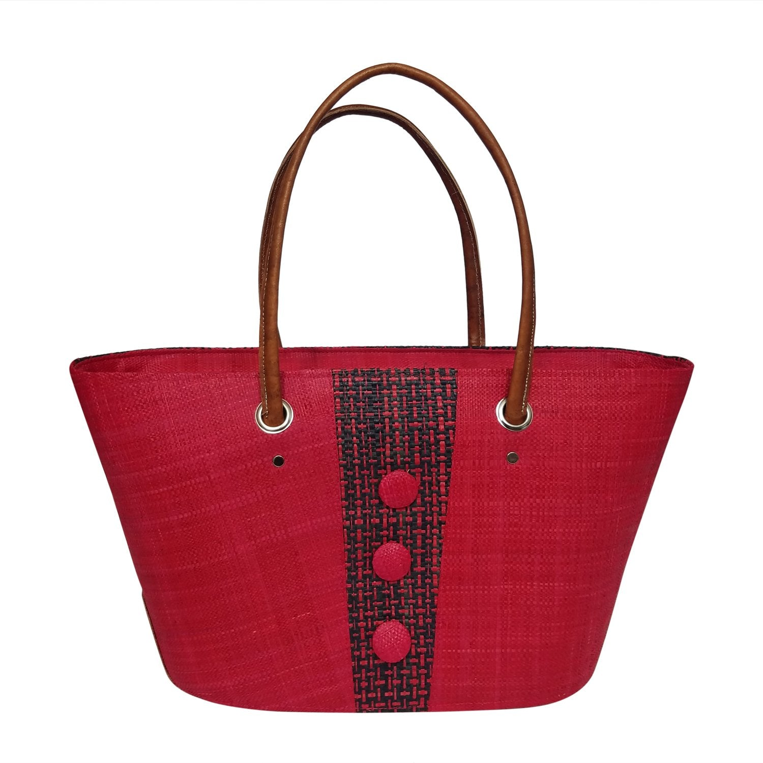 Christelle: Authentic Handmade Red and Black Madagascar Raffia Buttons Hand Bag