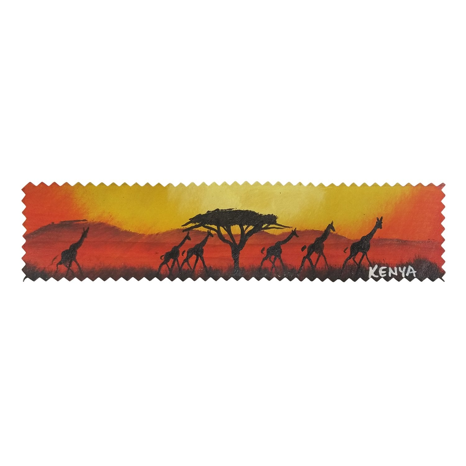 Giraffe Sunset: Authentic African Leather Bookmark by Henry Mburu