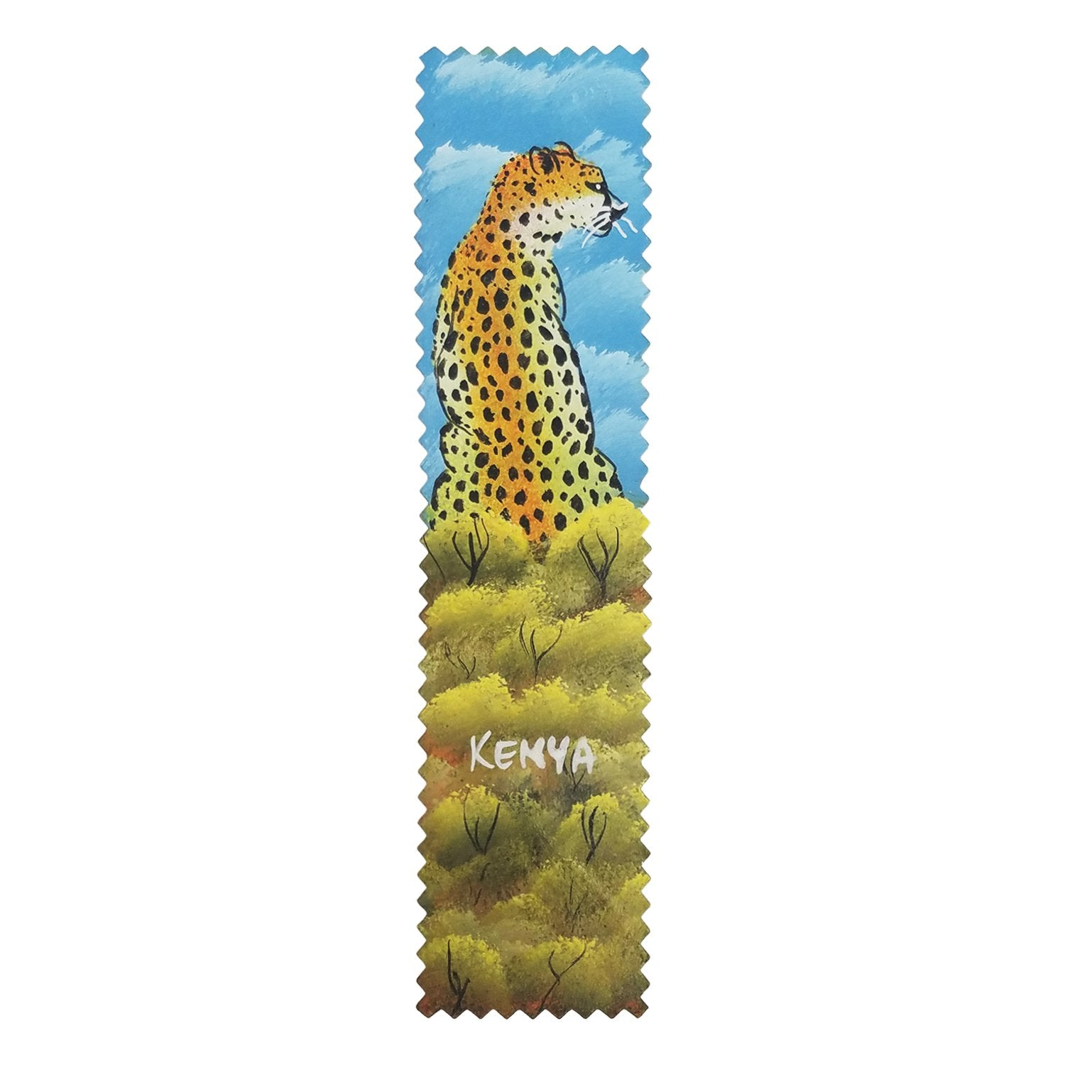 Cheetah: Authentic African Hand Painted Leather Bookmark by Henry Mburu