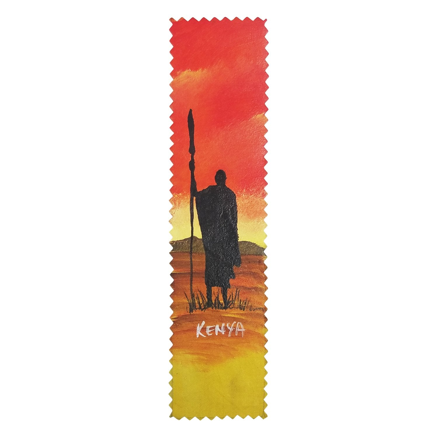 Maasai Sunset: Authentic African Hand Painted Leather Bookmark by Henry Mburu