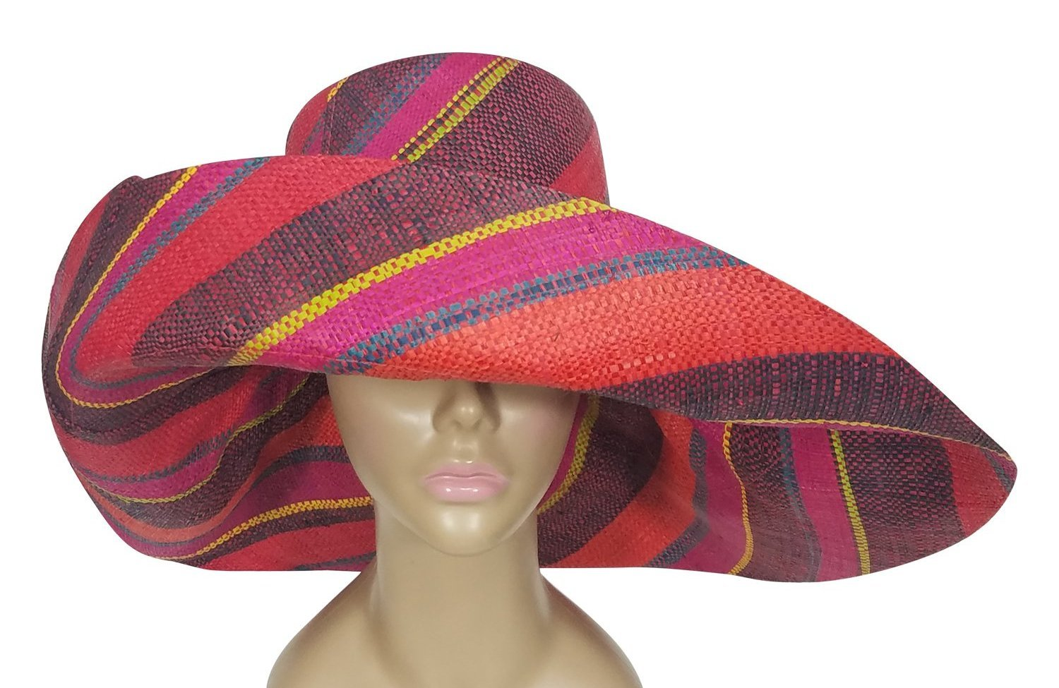 Bolade: Authntic African Hand Woven Multicolor Madagascar Big Brim Sun Hat by The Raffia Boutique
