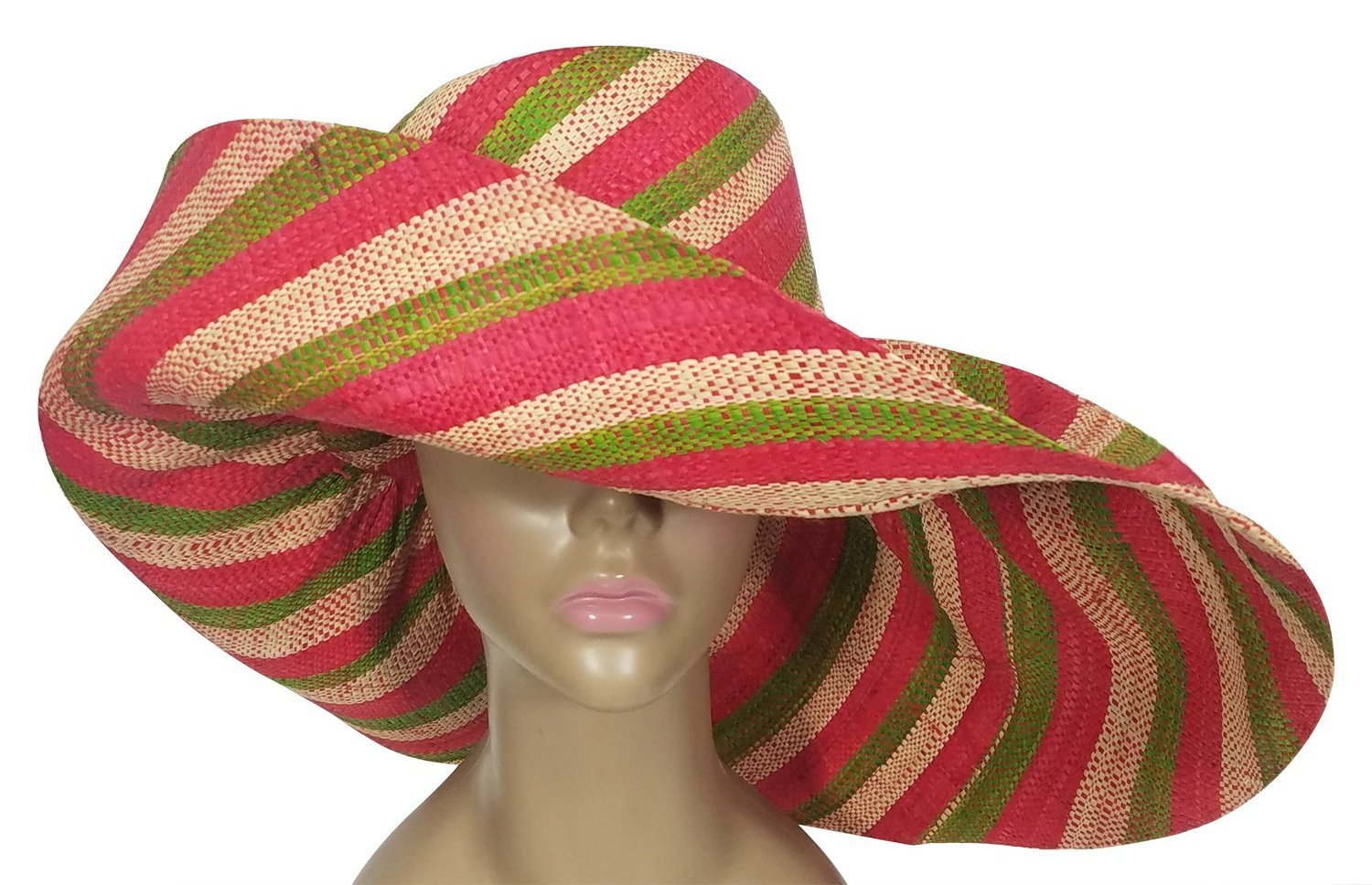 Chaonaine: Authentic African Hand Woven Multicolor Madagascar Big Brim Raffia Sun Hat