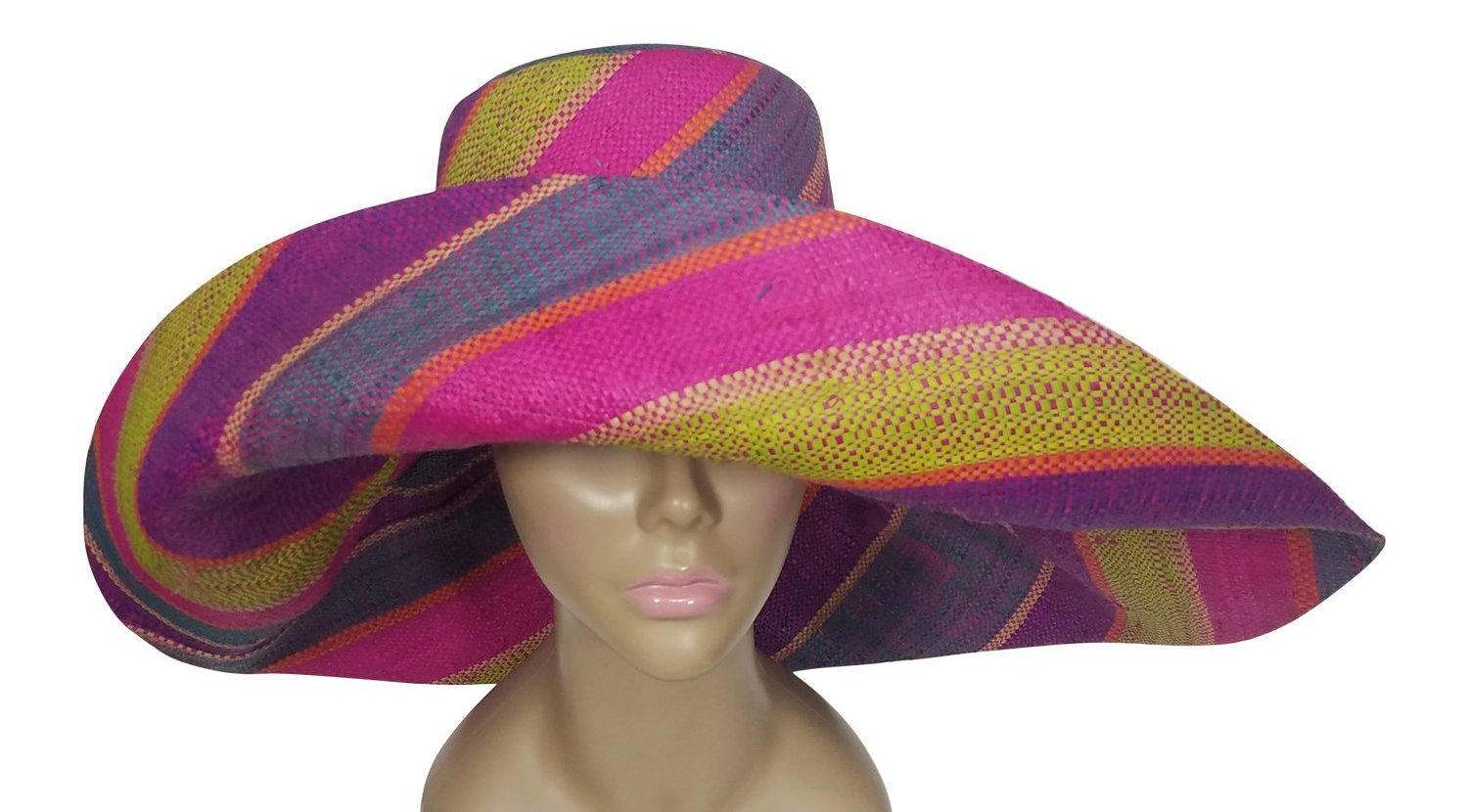 Chuki: Authentic African Hand Woven Multi-Color Madagascar Big Brim Raffia Sun Hat