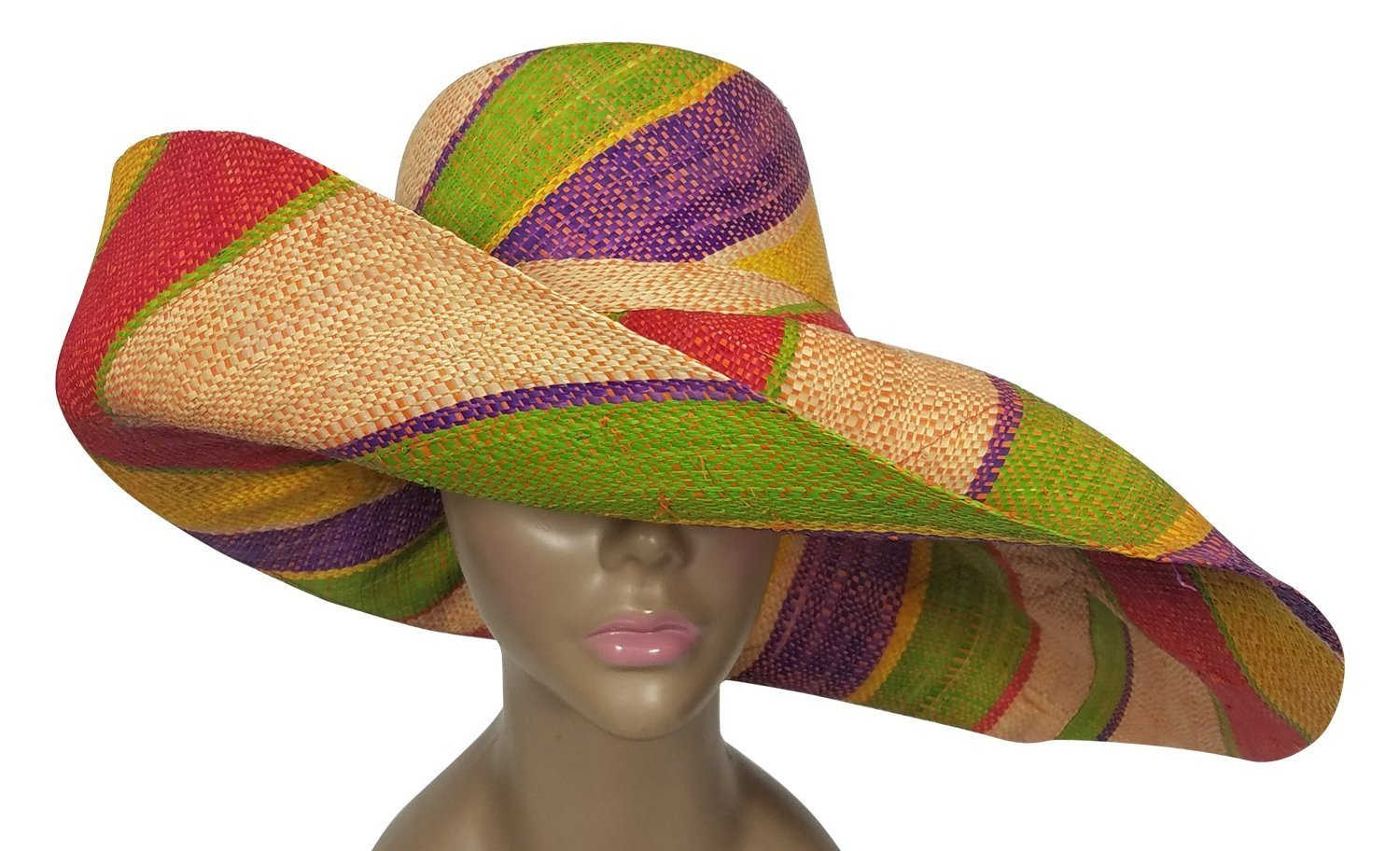 Dalili: Authentic African Hand Woven Multicolor Madagascar Raffia Big Brim Sun Hat