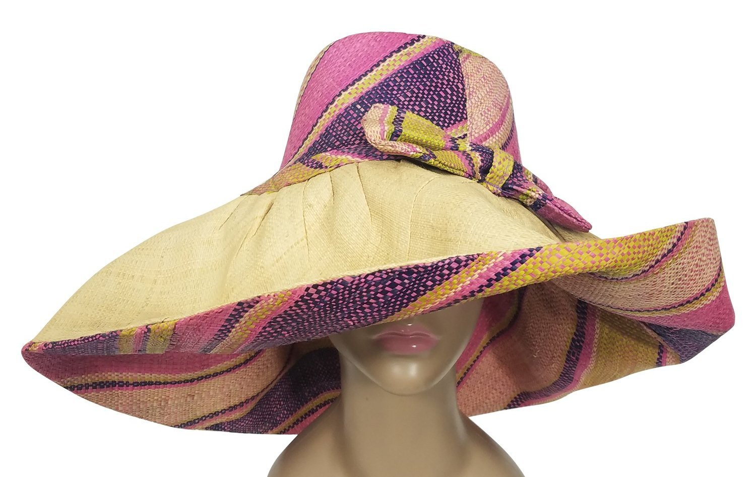 Dayo: Authentic African Hand Woven Multi-Color Madagascar Big Brim Raffia Sun Hat