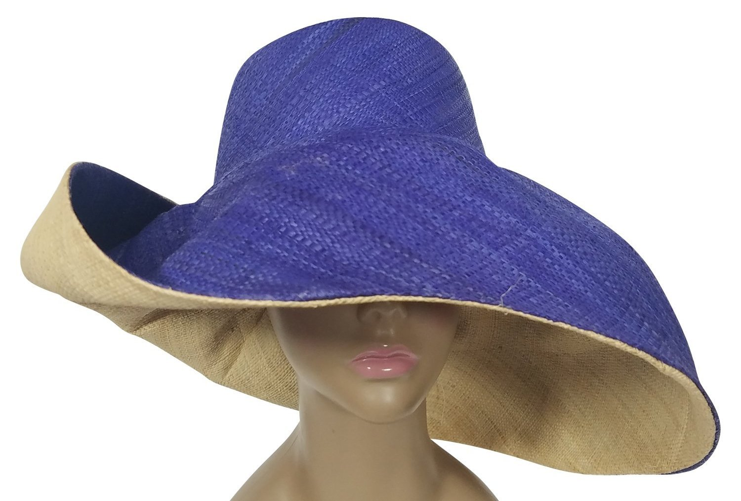 Dofi: Authentic African Hand Woven Blue and Natural Madagascar Big Brim Raffia Sun Hat