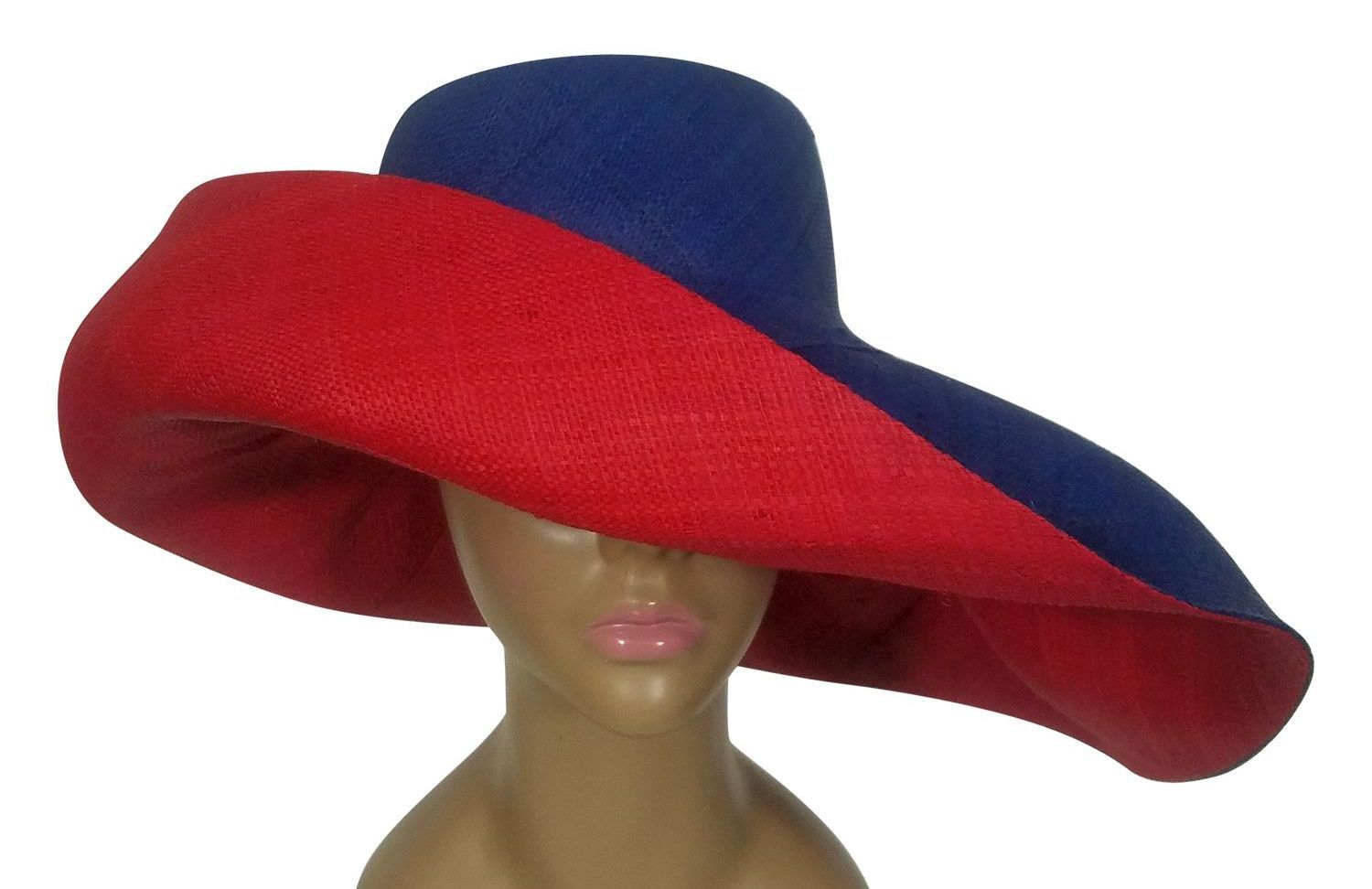 Apiyo: Authentic African Handwoven Blue and Red Madagascar Big Brim Raffia Sun Hat