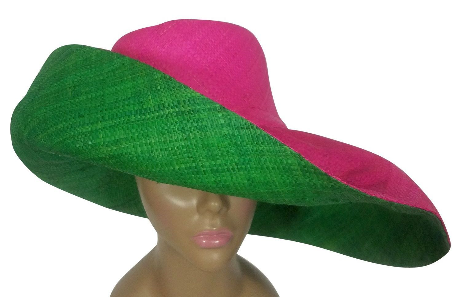 Adjoa: Authentic African Handwoven Pink and Green Madagascar Big Brim Raffia Sun Hat