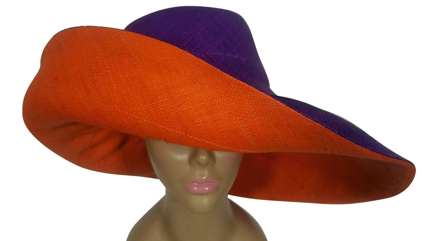 Atieno: Authentic African Handwoven Purple and Orange Madagascar Big Brim Raffia Sun Hat
