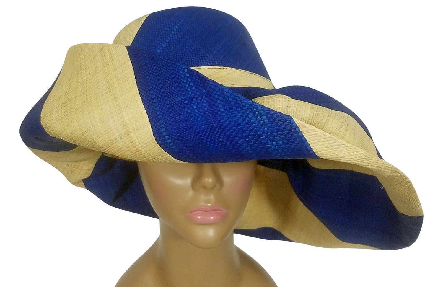 Awiti: Authentic African Handwoven Blue and Natural Swirl Madagascar Big Brim Raffia Sun Hat