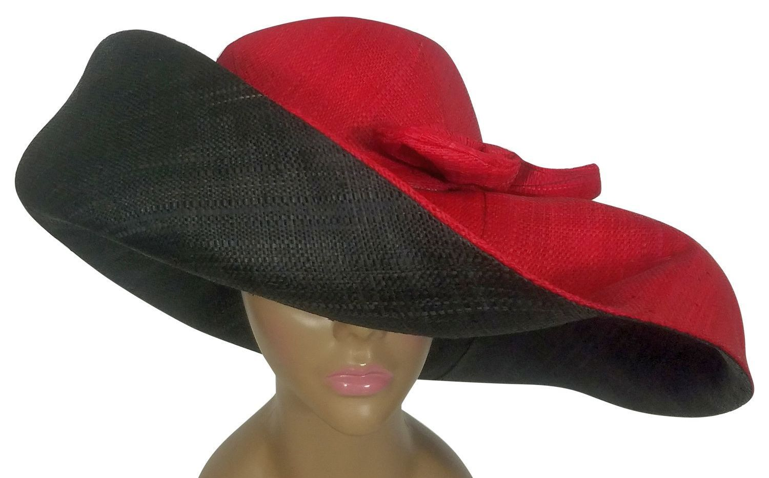 Adelola: Authentic African Hand Made Black and Red Madagascar Big Brim Raffia Sun Hat
