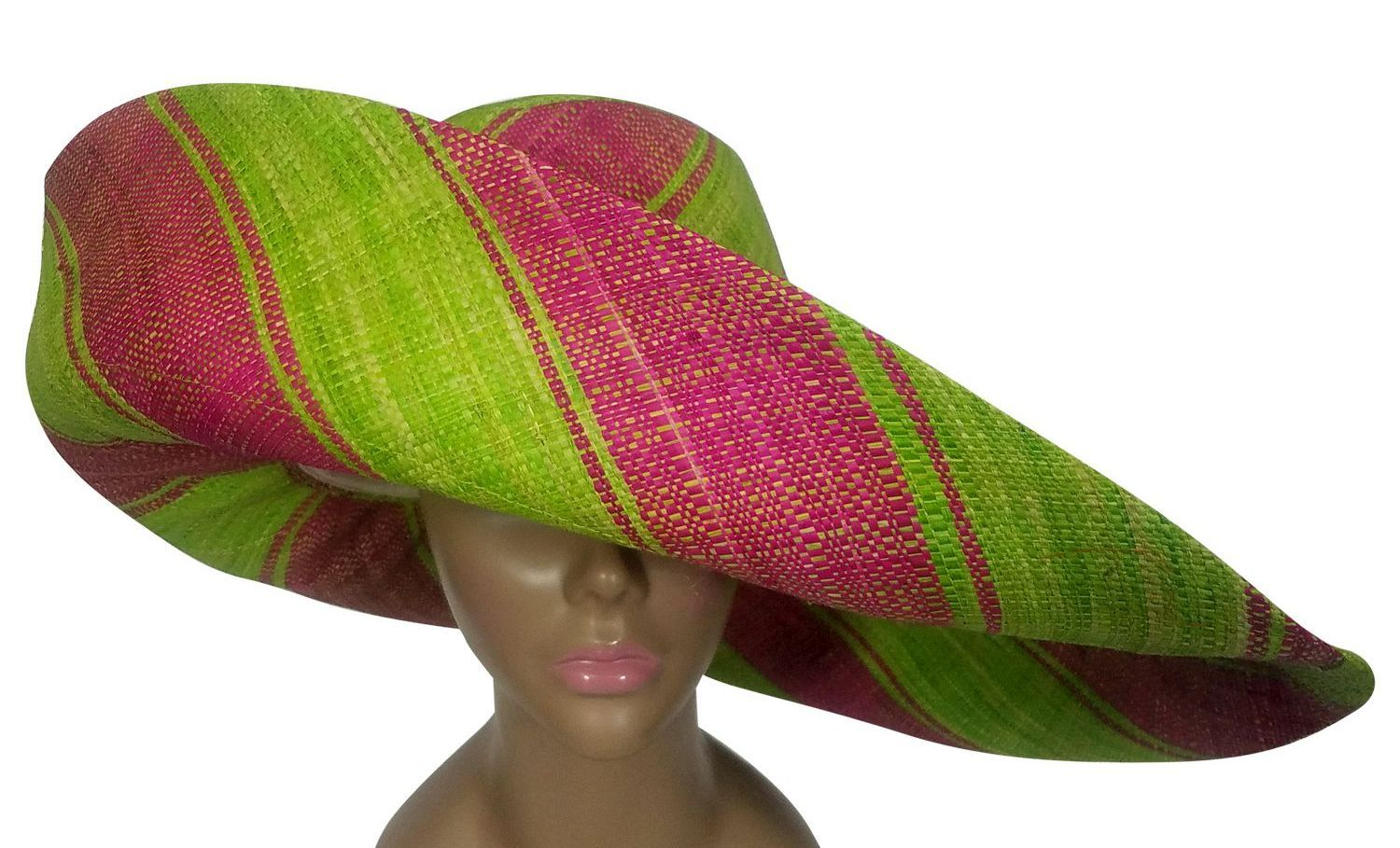 Ayo: Authentic African Handwoven Pink and Green Madagascar Big Brim Raffia Sun Hat