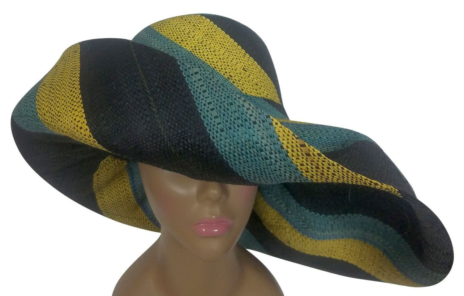 Adisa: Authentic African Hand Woven Multicolor Madagascar Big Brim Raffia Sun Hat