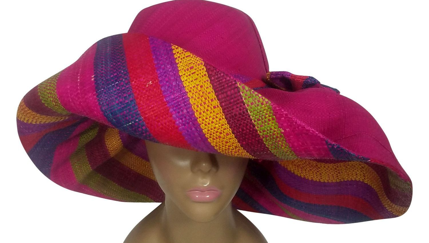 Babirye: Authentic African Handwoven Multicolor Madagascar Big Brim Raffia Sun Hat