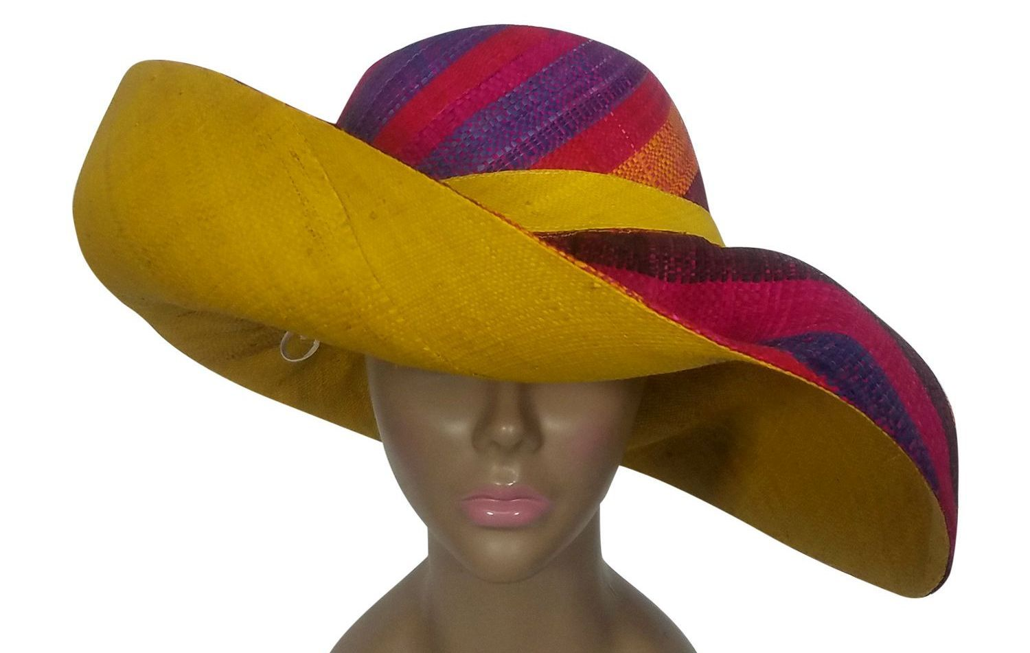 Chinedu: Authentic African Handwoven Multicolor Madagascar Big Brim Raffia Sun Hat