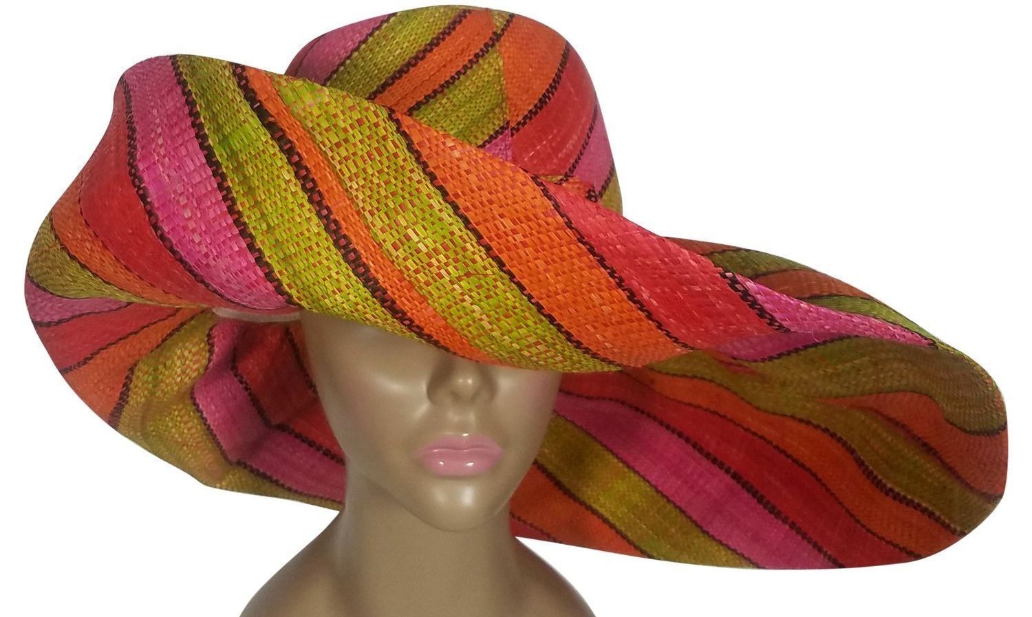 Blessing: Authentic African Handwoven Multicolor Madagascar Big Brim Raffia Sun Hat