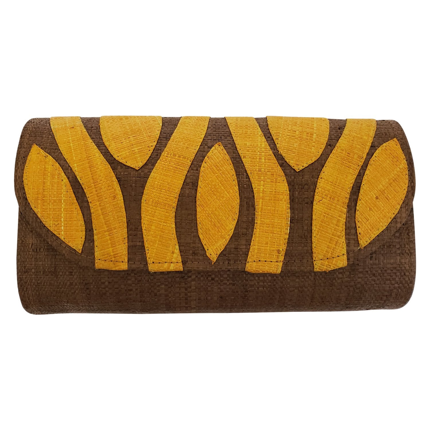 Authentic Handwoven Brown Madagascar Raffia Clutch with Orange Accents