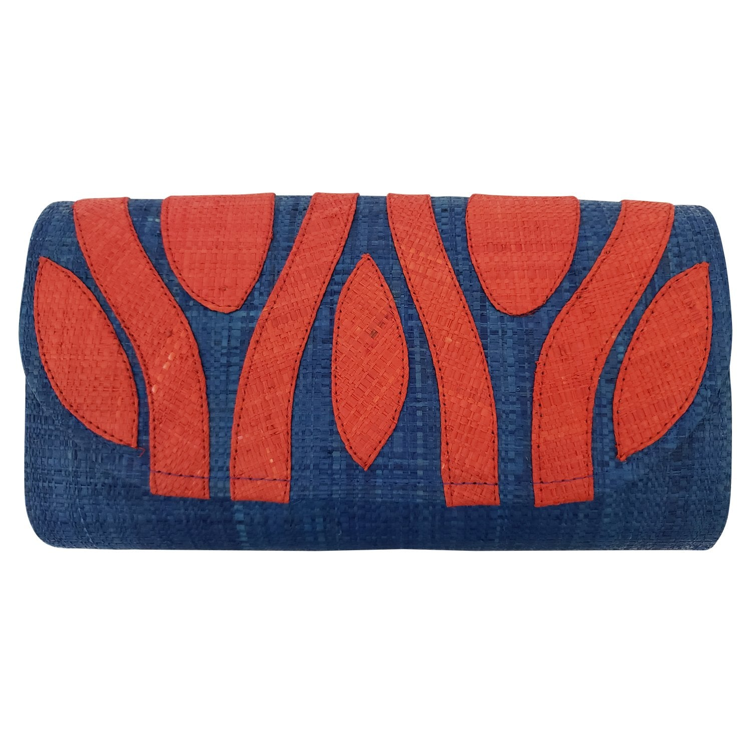 Authentic Handwoven Denim Blue Madagascar Raffia Clutch with Red-Orange Accents