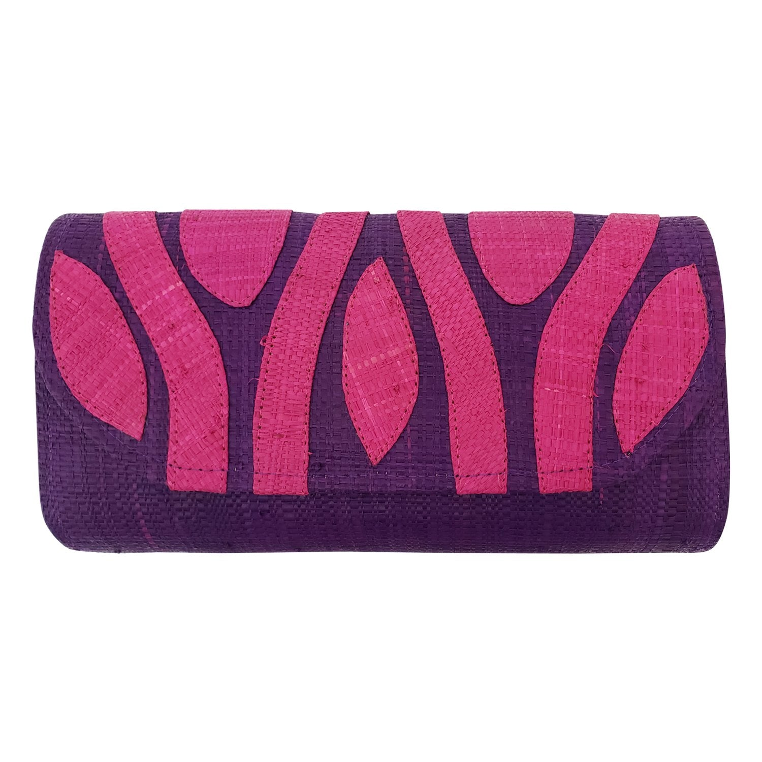 Authentic Handwoven Purple Madagascar Raffia Clutch with Fuchsia Accents