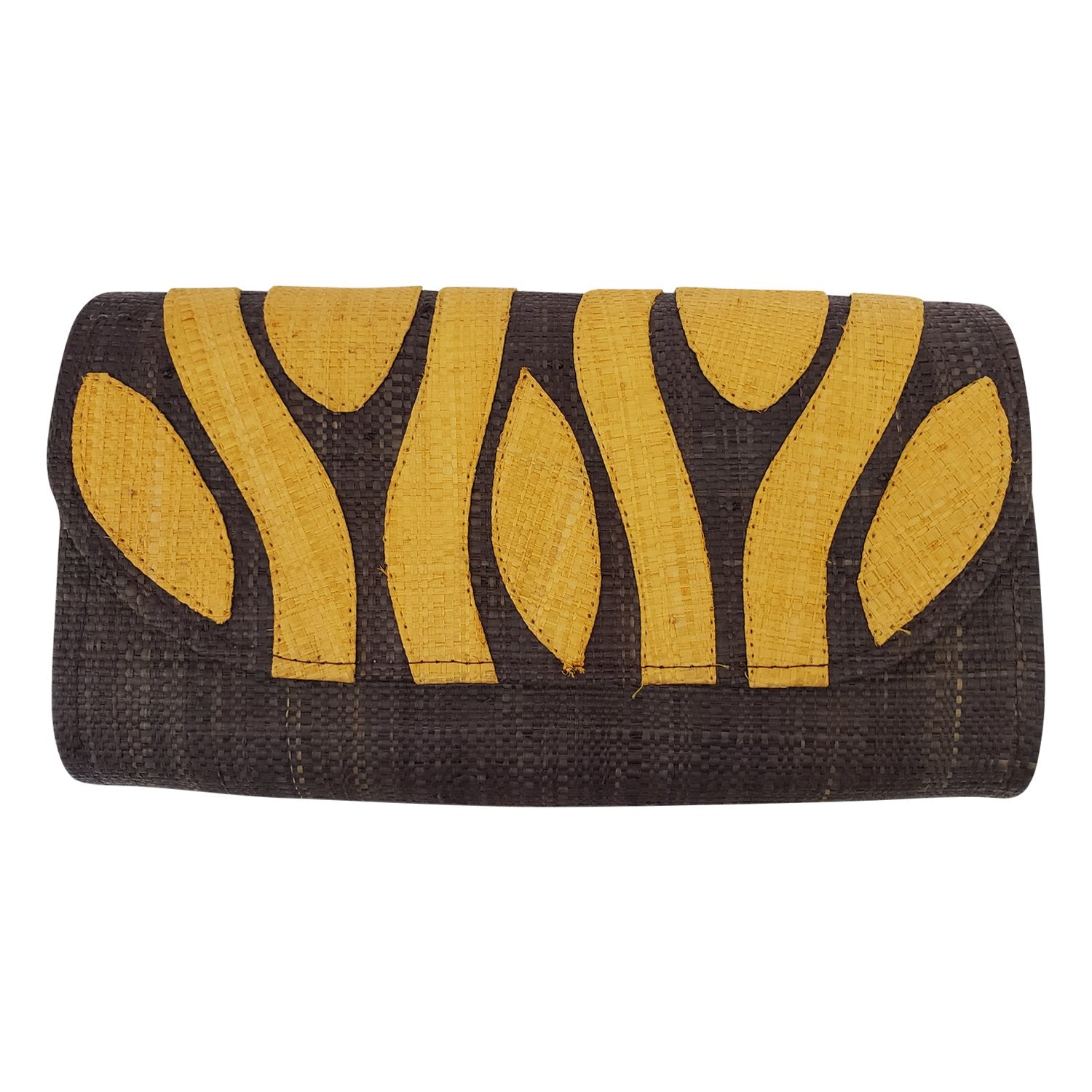Authentic Handwoven Brown Madagascar Raffia Clutch w/ Orange Accents