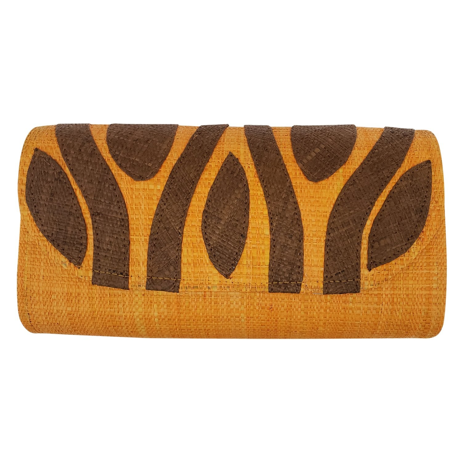 Authentic Handwoven Orange Madagascar Raffia Clutch with Brown Accents