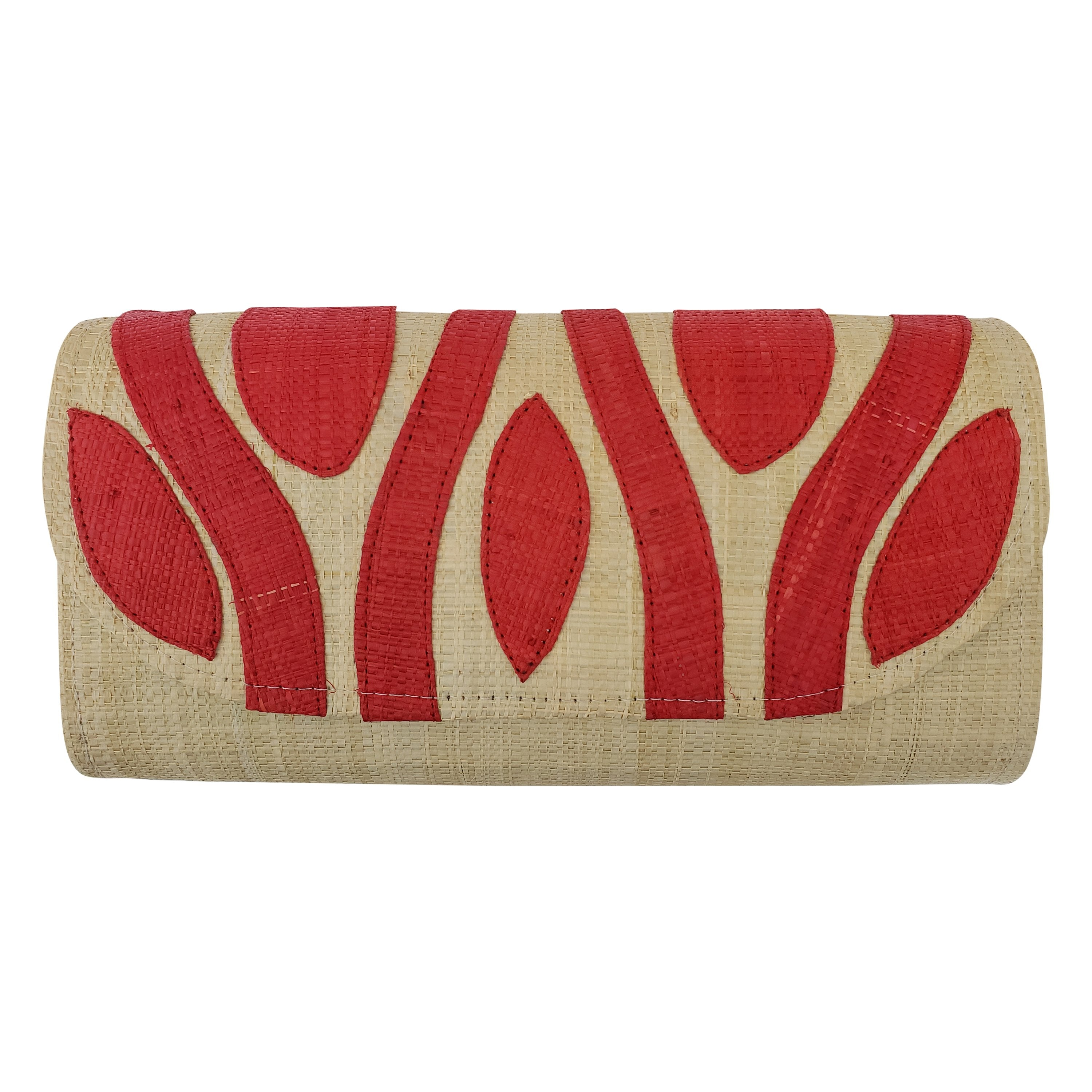 Authentic Handwoven Natural Madagascar Raffia Clutch with Red Accents