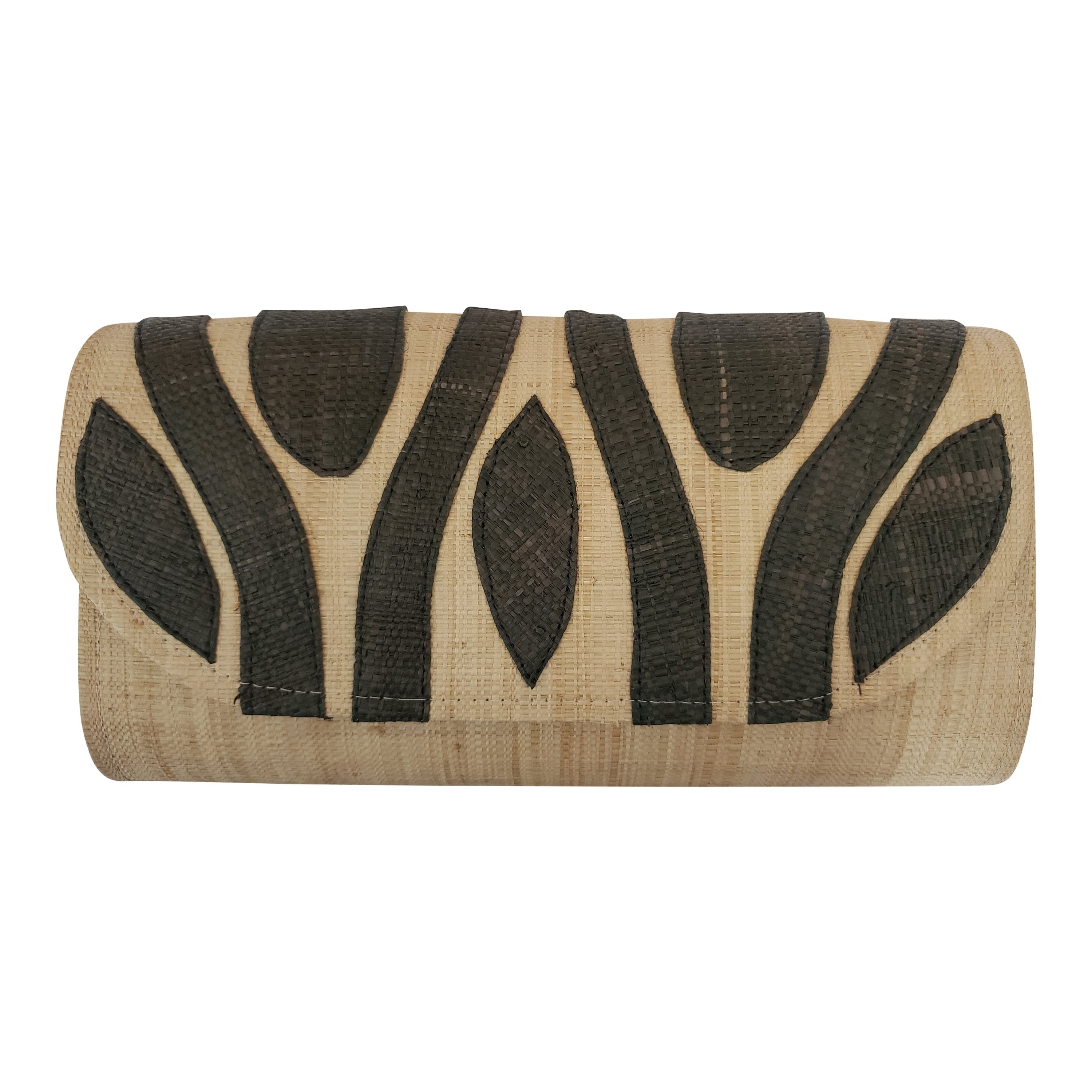Authentic Handwoven Natural Madagascar Raffia Clutch with Black Accents