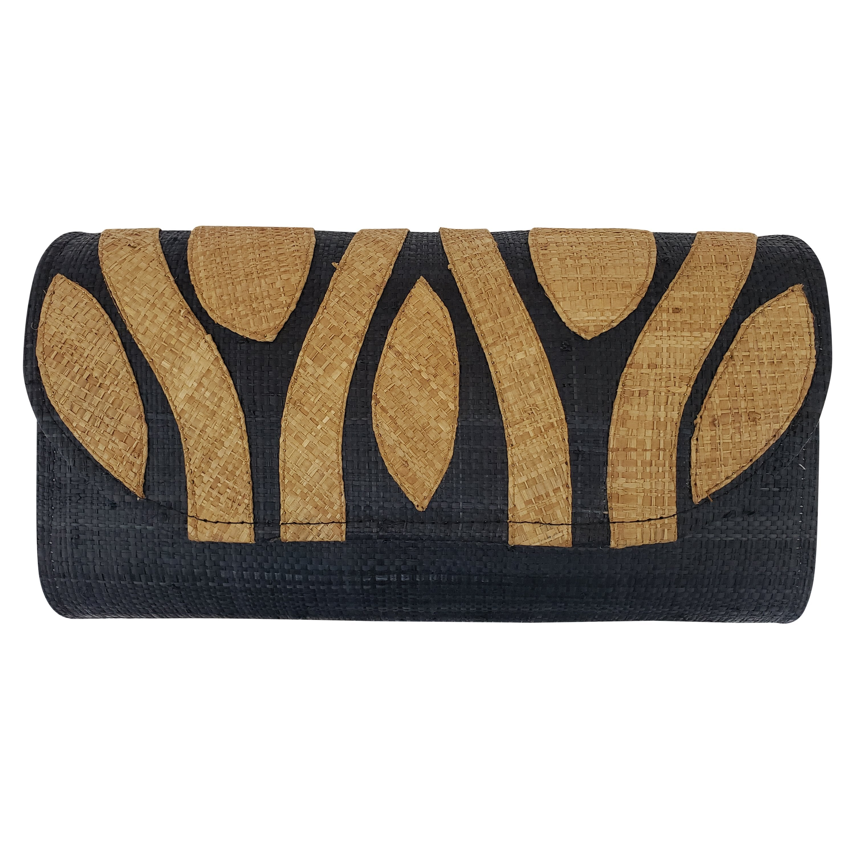 Authentic Handwoven Black Madagascar Raffia Clutch with Brown Accents