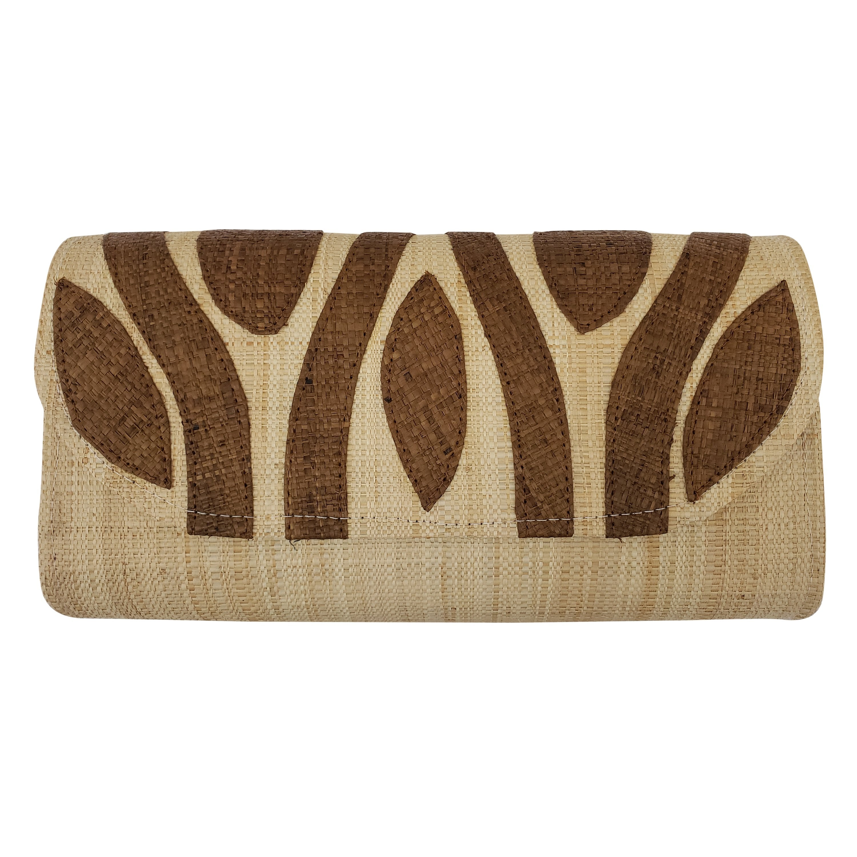 Authentic Handwoven Natural Madagascar Raffia Clutch with Brown Accents