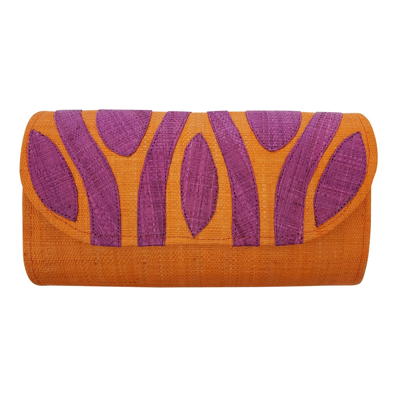 Authentic Handwoven Orange Madagascar Raffia Clutch with Purple Accents