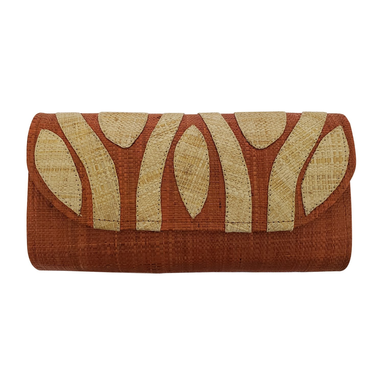 Authentic Handwoven Burnt Orange Madagascar Raffia Clutch with Natural Accents