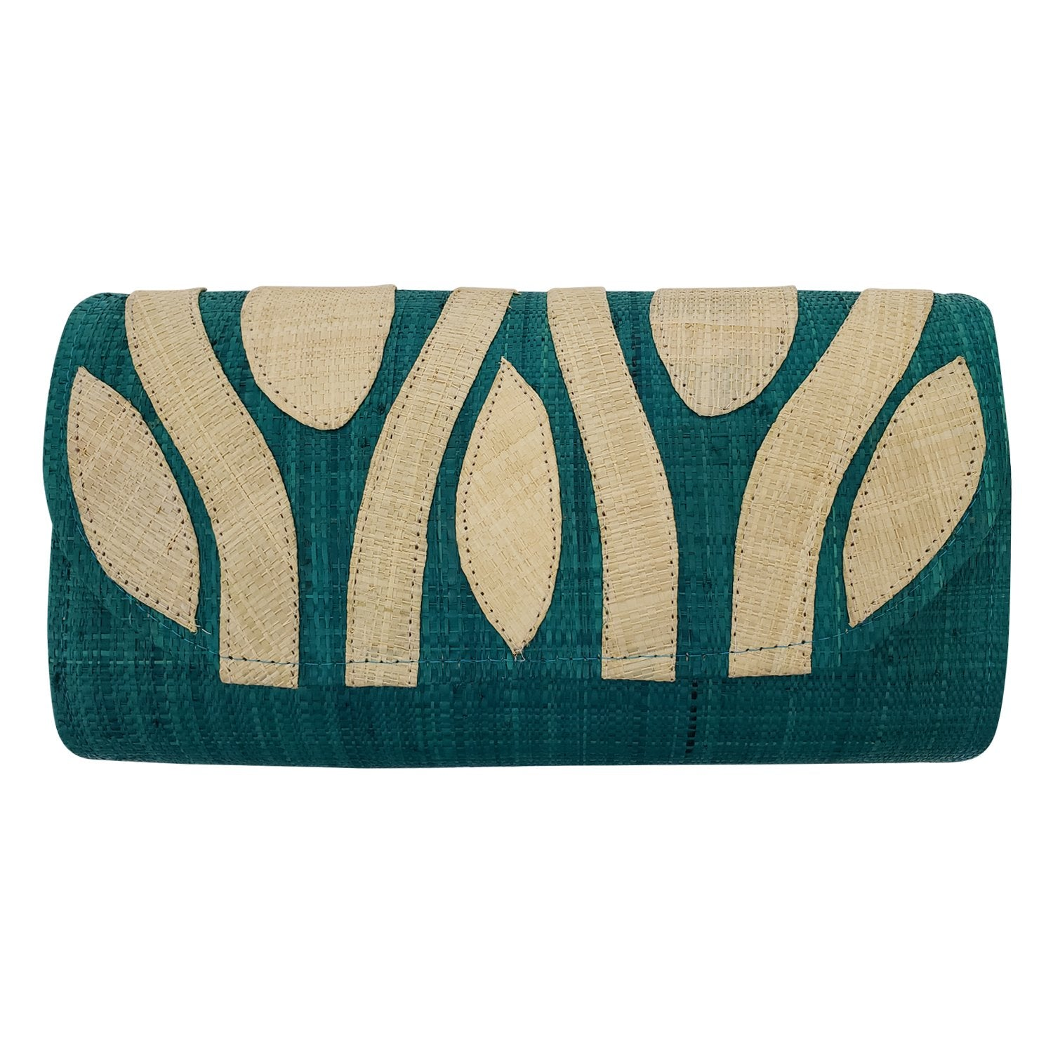 Authentic Handwoven Blue-Green Madagascar Raffia Clutch with Natural Accents