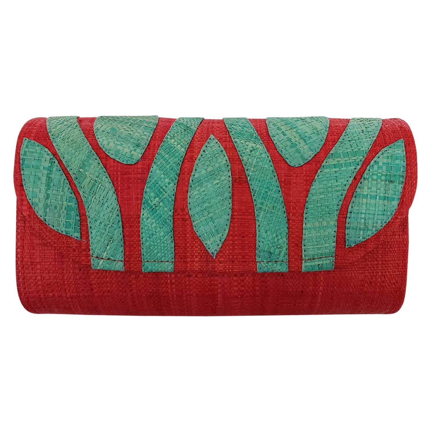 Authentic Handwoven Red Madagascar Raffia Clutch with Light Blue Accents
