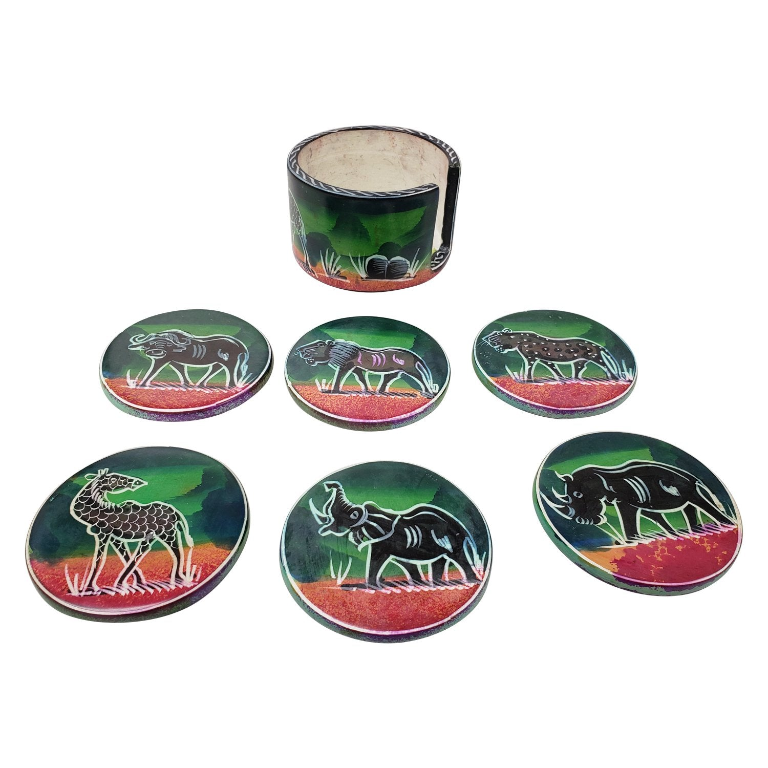 Serengeti at Sunset: Authentic African Hand Made Soapstone Coasters by Boutique Africa