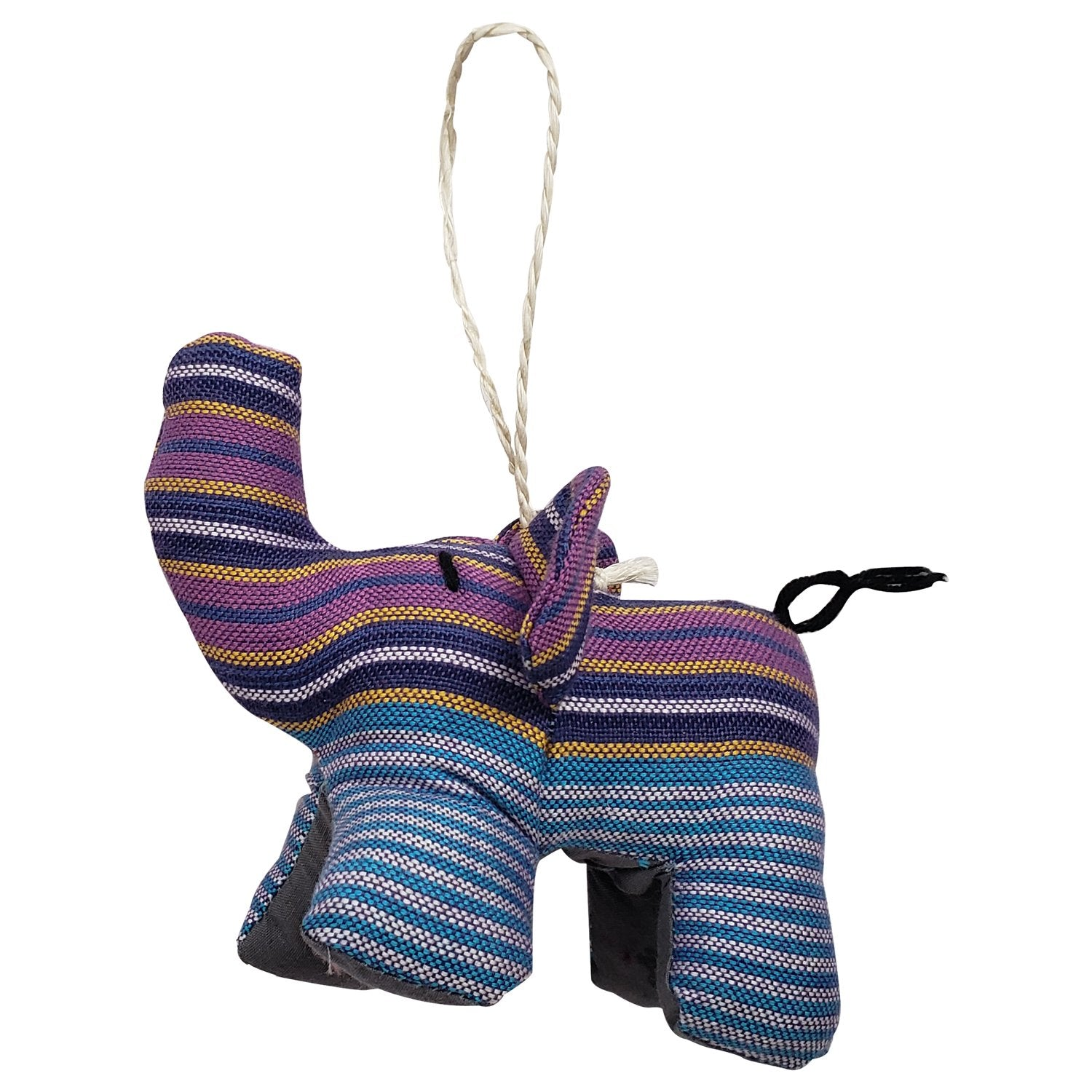 Authentic Hand Made African Kikoi Fabric Elephant Christmas Ornament