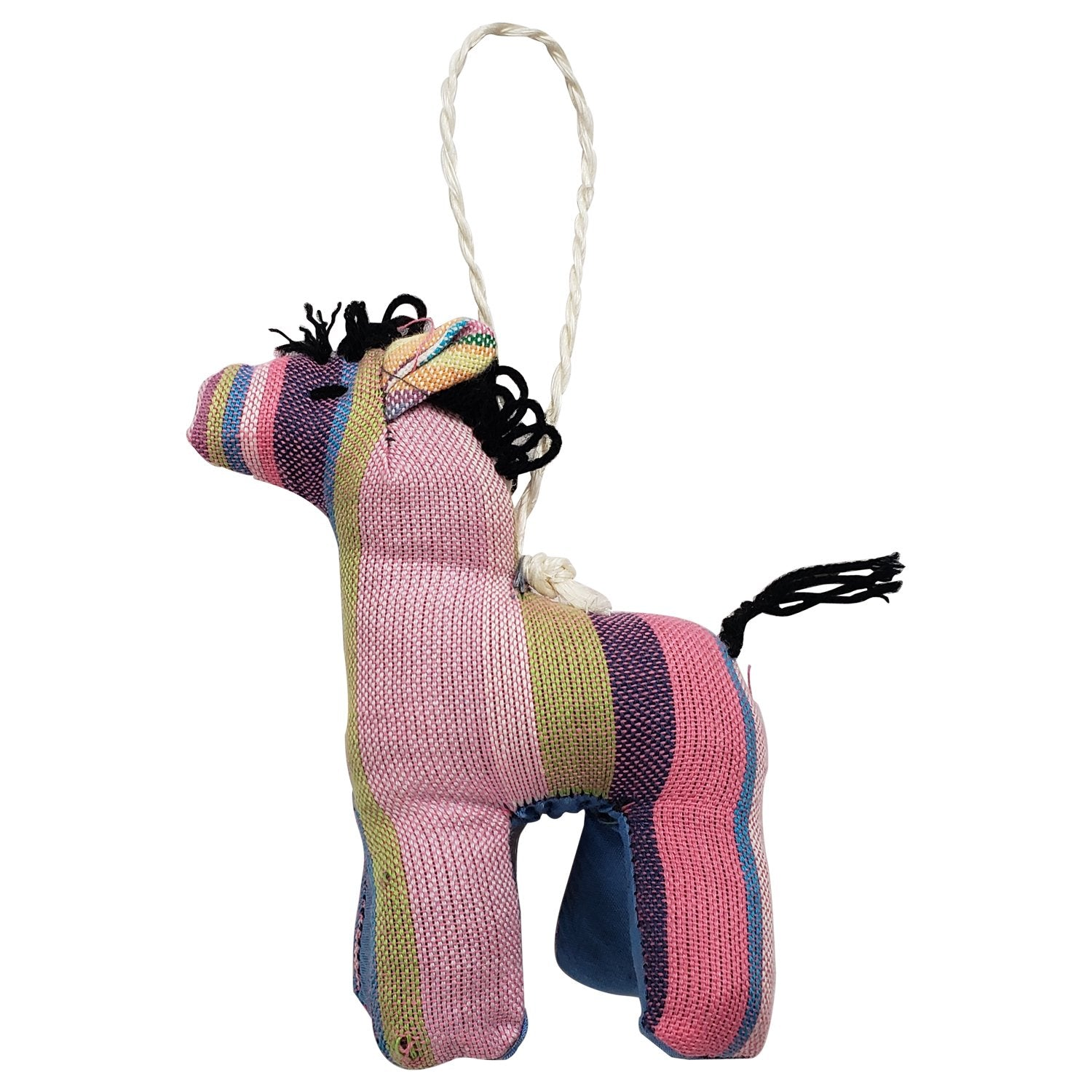 Zebra: Authentic African Handmade Kikoi Fabric Stuffed Animal Christmas Ornament