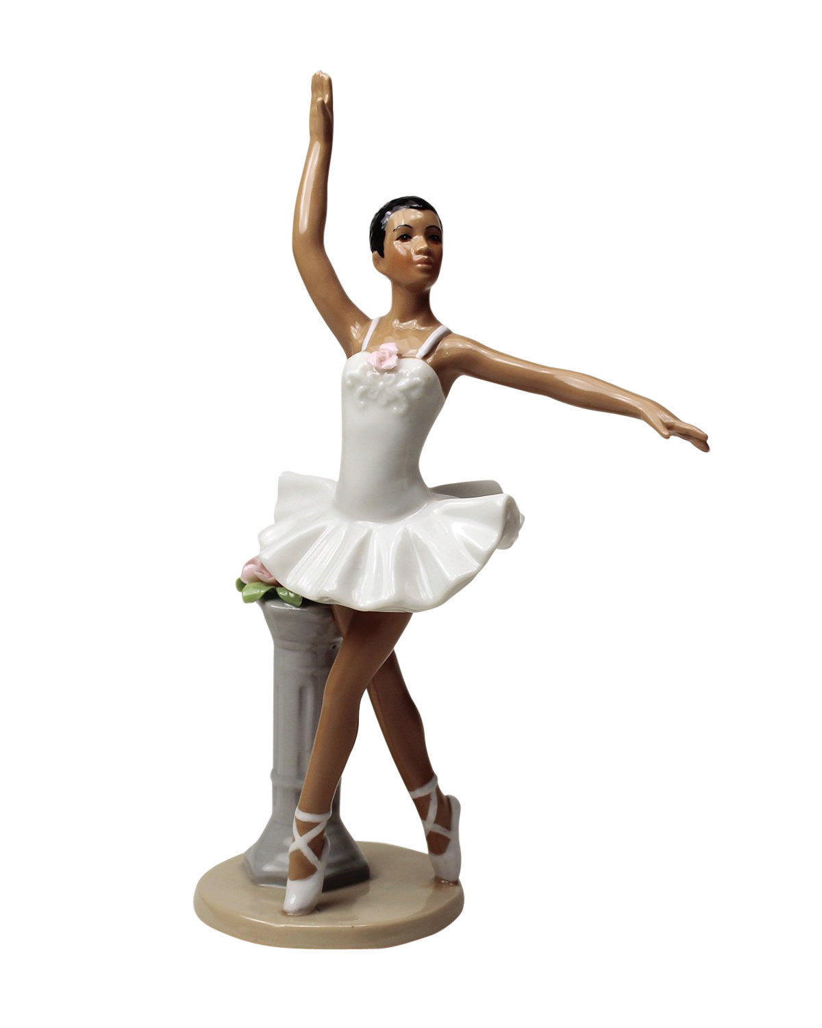 African American Ballerina in White Dress by Cosmos Gifts
