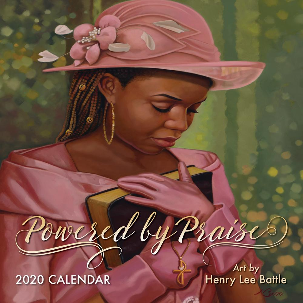 Powered by Praise: The Art of Henry Battle 2020 Black Art Wall Calendar (Front)